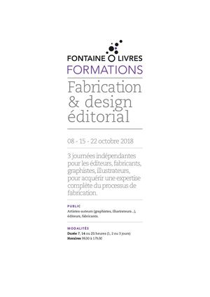 Formation Fabrication & Design éditorial 2018