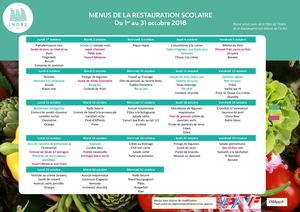 Menus Restauration octobre 2018