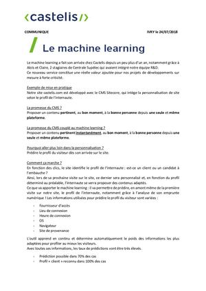 Communiqué De Presse Machine Learning