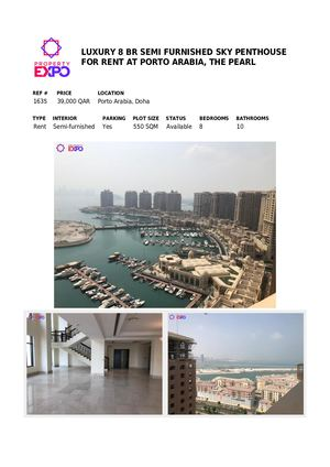 Luxury 8 Br Semi Furnished Sky Penthouse Apartment For Rent At Porto Arabia, The Pearl