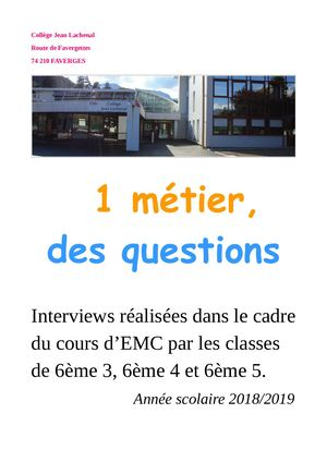 Calameo Livre Numerique 6eme Interviews Metiers 2018