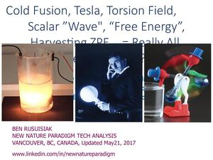 "Cold fusion, Tesla, Scalar wave, Torsion field, ""Free energy"", Zeropoint Energy Extraction..= Really All Pseudo Science?  Analysis Of Controversial Energy Related Claims Including Questionable Accusations Against Technology Lobbies."