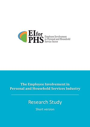 Short version of the research study: the Employee Involvement in Personal and Household Services Industry.