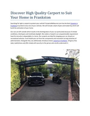Discover High Quality Carport To Suit Your Home In Frankston