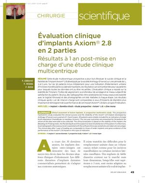 Evalutation clinique implant Axiom® 2.8-Drs Exbrayat, Missika, Russe-Implant-jan 2018