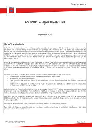 Fiche Technique Tarification Incitative