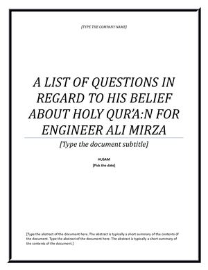 Some Questions for Engineer Ali Mirza Jhelumi [29\03\1440 AH]