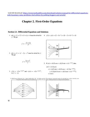 Solution Manual for Differential Equations with Boundary Value Problems 2nd Edition by Polking Boggess and Arnold
