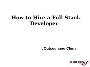 Hire A Full Stack Developer