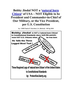 Bobby Jindal Is Not A Natural Born Citizen Of USA To Constitutional Standards