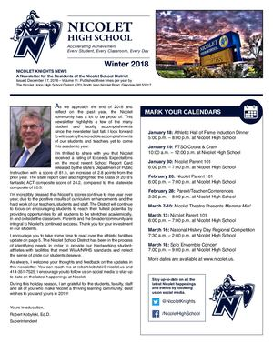 Nicolet High School District 2018 Winter Newsletter
