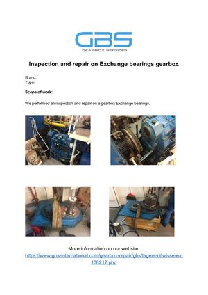 Inspection And Repair On Exchange Bearings Gearbox