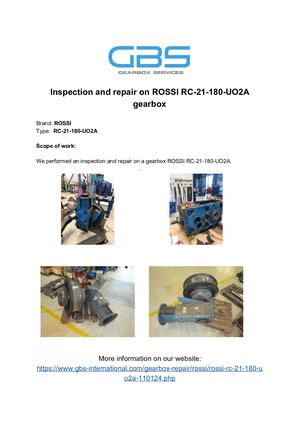 Calaméo - Inspection And Repair On ROSSI RC 21 180 UO2A Gearbox