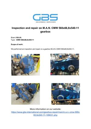 Inspection And Repair On M A N. CMW 560x66,8x540 11 Gearbox