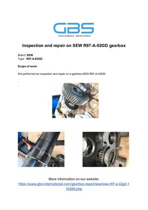 Inspection And Repair On SEW R97 A II2GD Gearbox
