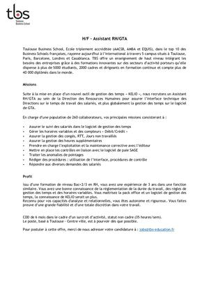 TBS Recrutement Assistant RH GTA