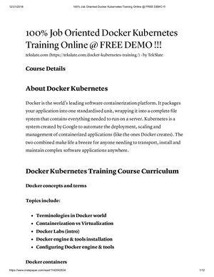 Calaméo - 100% Job Oriented Docker Kubernetes Training Online @ Free
