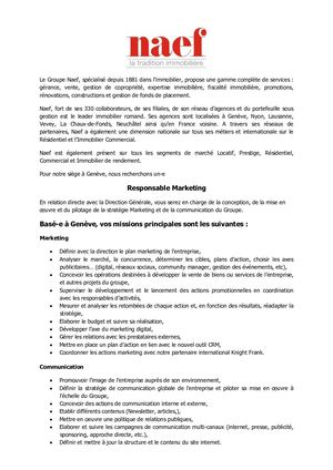 Annonce Responsable Marketing