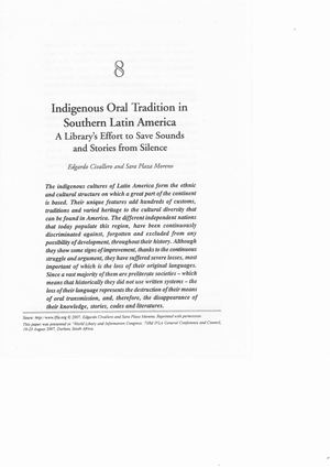 Indigenous oral tradition in southern Latin America: A library's effort to save sound and stories from silence