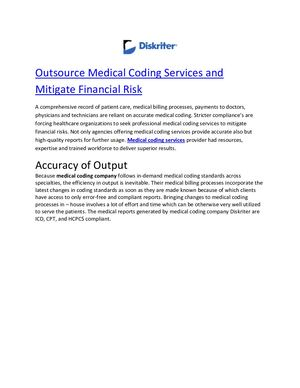 Outsource Medical Coding Services And Mitigate Financial Risk