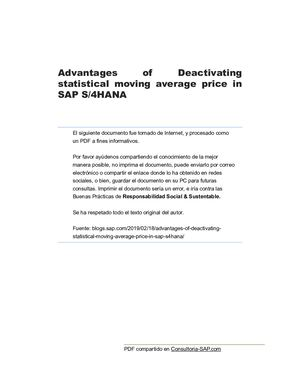 Calaméo - [S4hana] Advantages Of Deactivating Statistical Moving