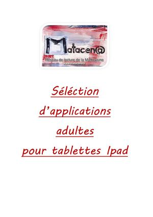 Liste Applications Adultes Janvier 2019