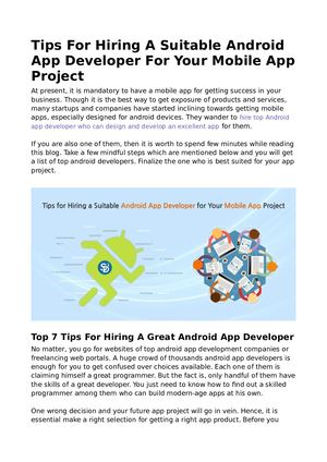 Calaméo - Tips For Hiring A Suitable Android App Developer