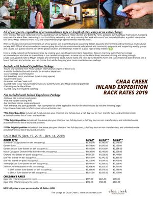Chaa Creek Inland Expedition Package 2019
