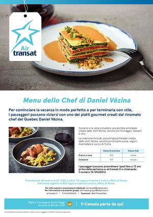 Menu Vezina Air Transat 2019