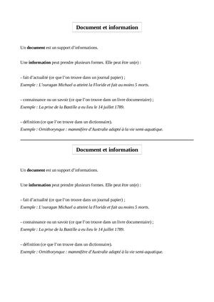 Document Et Information