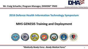 Mhs GENESIS TRAINING AND DEPLOYMENT - SHAEFER FINAL