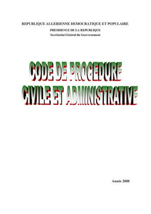 CODE PROCEDURE CIVILE ET ADMINISTRATIF