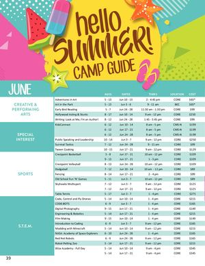 2019 Summer Camp Guide - Parks and Recreation