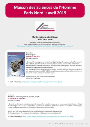 Avril 2019 MSH Paris Nord Newsletter