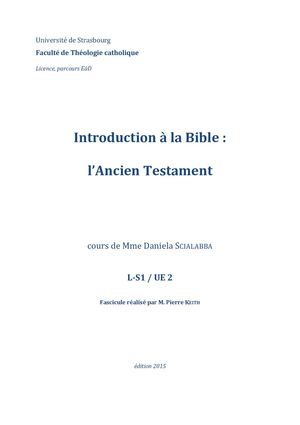 Thceadl S1 Ue2 Introduction à La Bible Ancien Testament