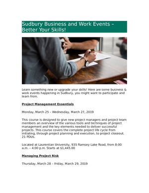 Sudbury Business And Work Events