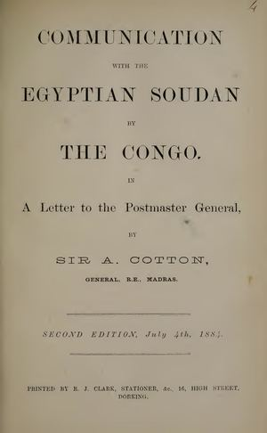Communication with the Egyptian Soudan by the Congo by Cotton, Arthur Sir Publié - 1884