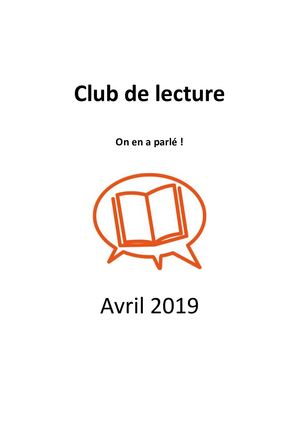 Sélection du Club de lecture | Avril 2019