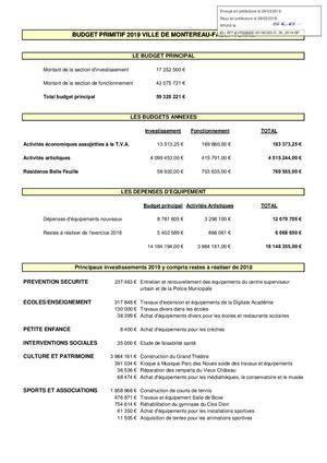 BUDGET PRIMITIF 2019 VILLE DE MONTEREAU-FAULT-YONNE