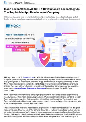 Moon Technolabs Is All Set To Revolutionize Technology As The Top Mobile App Development Company