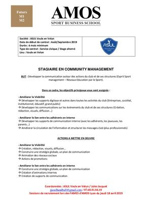 [futurs M1, M2] Offre Stage alterné- service civique ASUL Community Management
