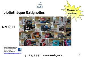 2019 - Batignolles - Acquisitions musicales - Avril