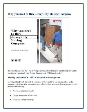 Why You Need To Hire Jersey City Moving Company