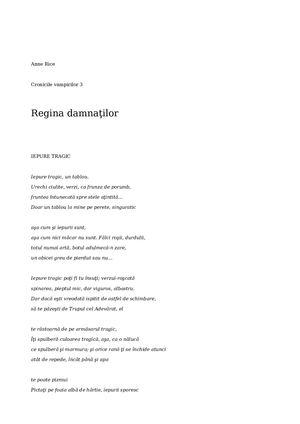 Calaméo Regina Damnatilor 3 Anne Rice