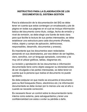 Resumen Instructivo Para La Elaboracion De Documentos Del Sig