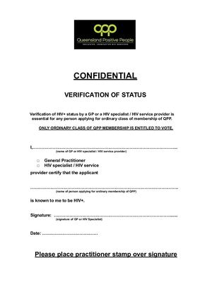 QPP Verfication Status Form