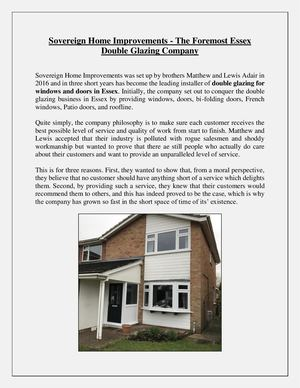 Sovereign Home Improvements The Foremost Essex Double Glazing Company