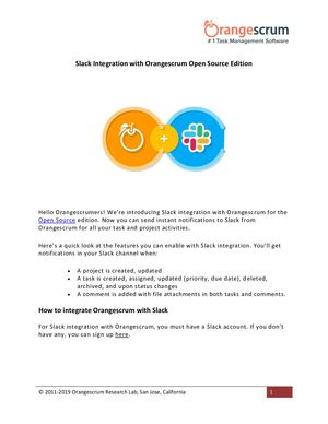 Slack Integration With Orangescrum Open Source Edition