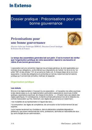 Dossier Preconisations Gouvernance Associations
