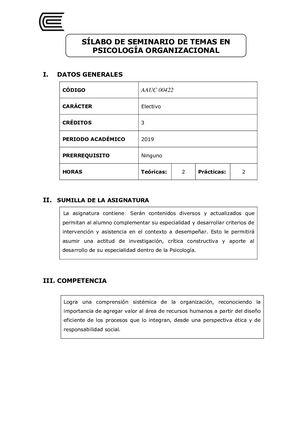 Calaméo Aauc00422 Silabo Seminario De Temas En Psicología